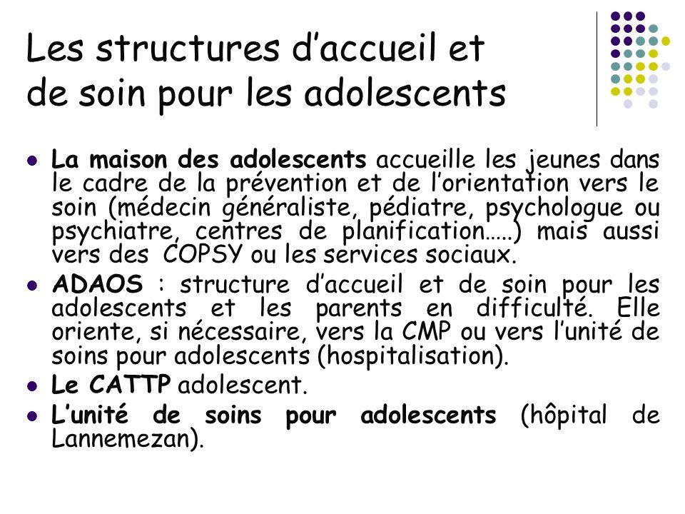Les structures daccueil et de soin pour les adolescents La maison des adolescents accueille les jeunes dans le cadre de la prévention et de lorientati