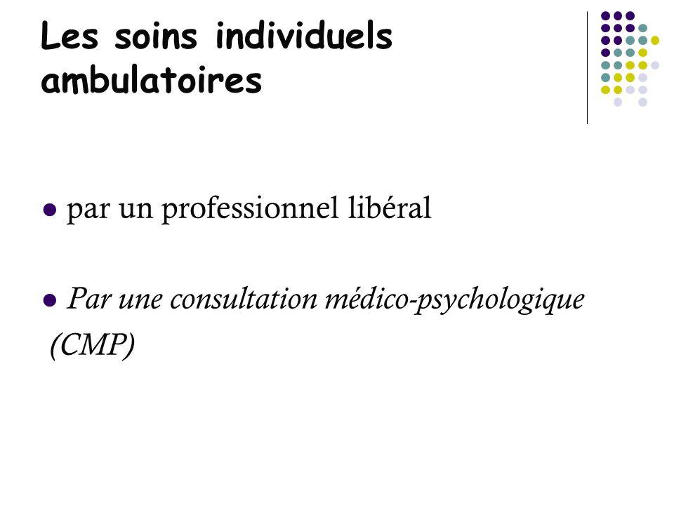 Les soins individuels ambulatoires par un professionnel libéral Par une consultation médico-psychologique (CMP)