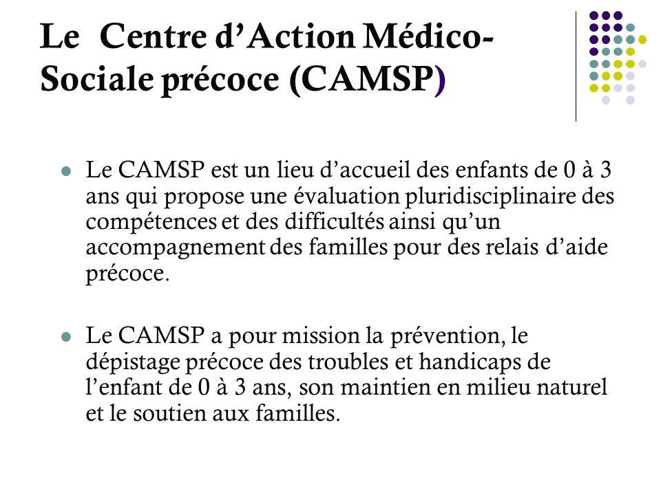 Le Centre dAction Médico- Sociale précoce (CAMSP) Le CAMSP est un lieu daccueil des enfants de 0 à 3 ans qui propose une évaluation pluridisciplinaire