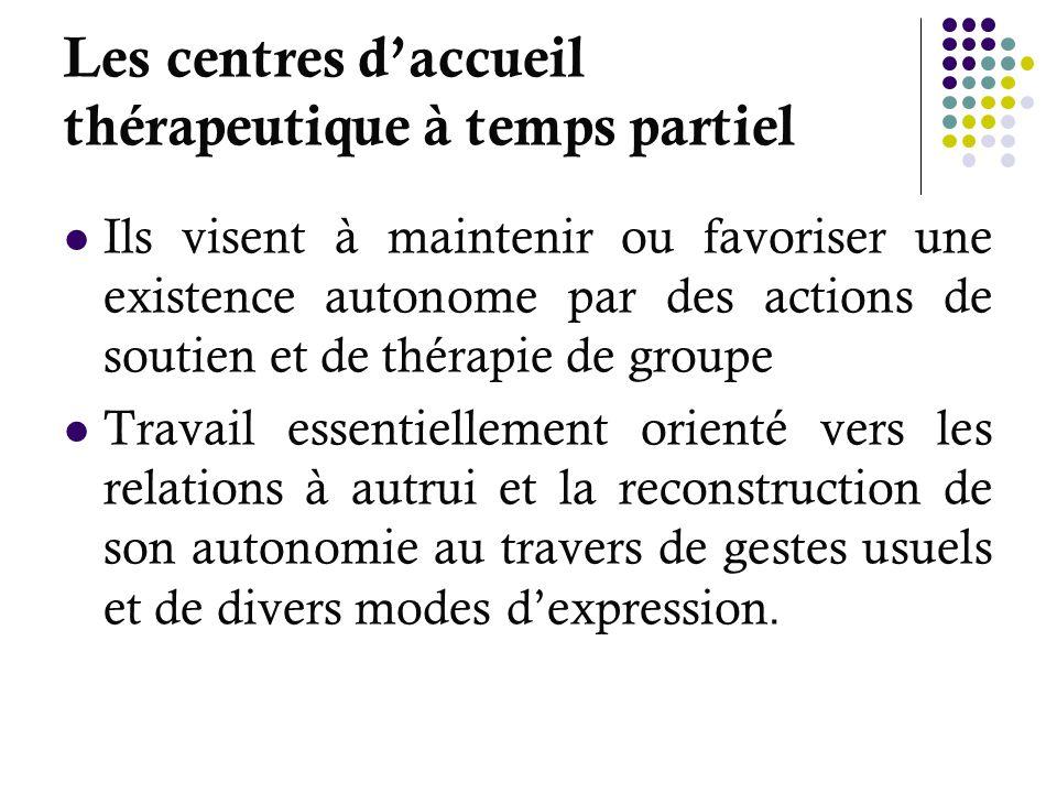 Les centres daccueil thérapeutique à temps partiel Ils visent à maintenir ou favoriser une existence autonome par des actions de soutien et de thérapi