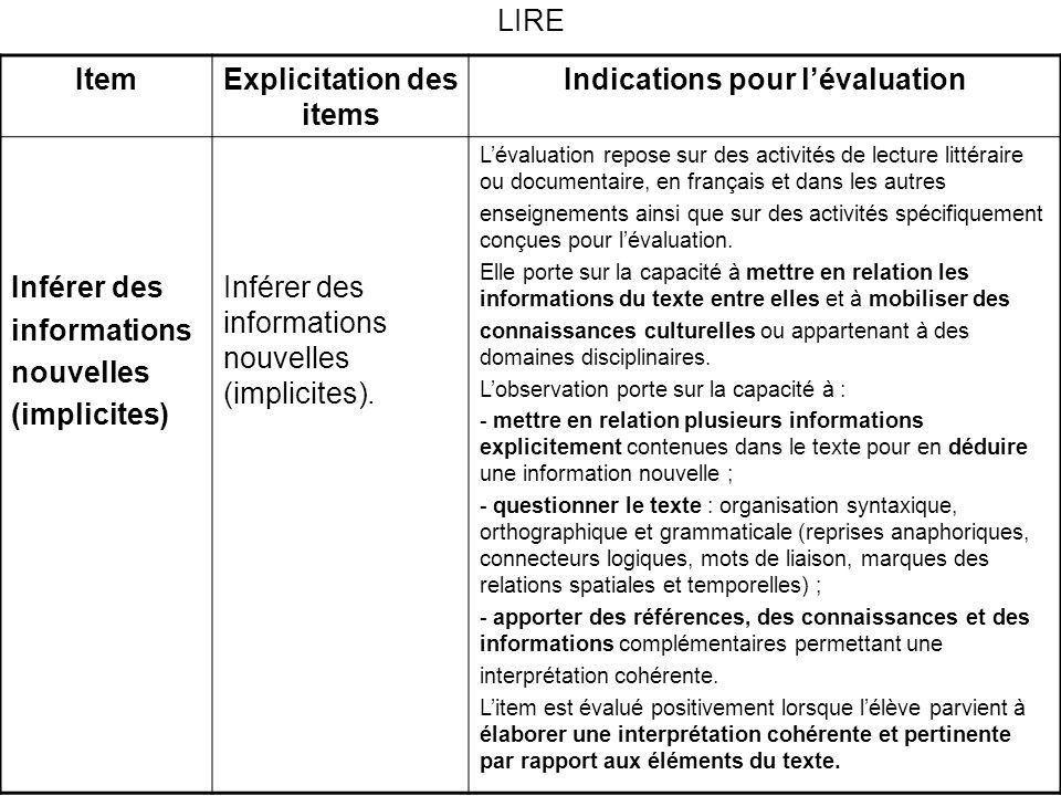 LIRE ItemExplicitation des items Indications pour lévaluation Inférer des informations nouvelles (implicites) Inférer des informations nouvelles (implicites).