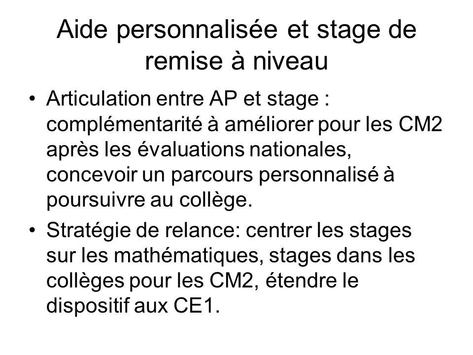 Aide personnalisée et stage de remise à niveau Articulation entre AP et stage : complémentarité à améliorer pour les CM2 après les évaluations nationales, concevoir un parcours personnalisé à poursuivre au collège.