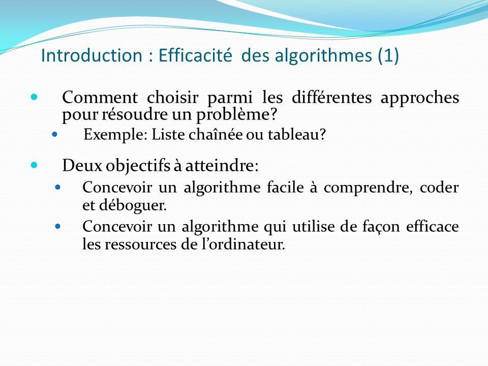 Introduction : Efficacité des algorithmes (1) Comment choisir parmi les différentes approches pour résoudre un problème? Exemple: Liste chaînée ou tab