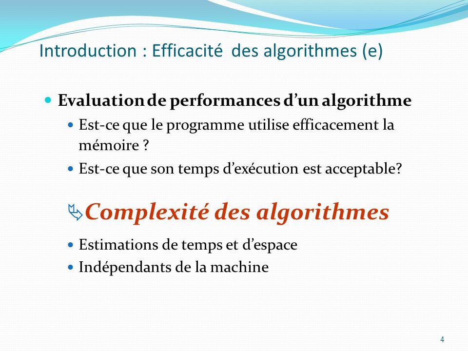 Introduction : Efficacité des algorithmes (e) Evaluation de performances dun algorithme Est-ce que le programme utilise efficacement la mémoire ? Est-