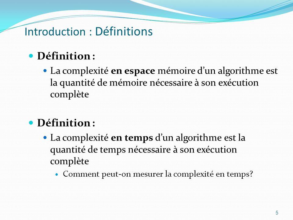 Introduction : Définitions Définition : La complexité en espace mémoire dun algorithme est la quantité de mémoire nécessaire à son exécution complète
