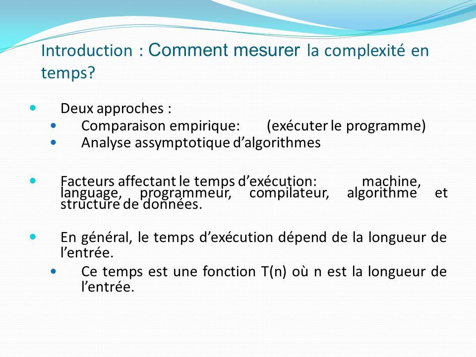Introduction : Comment mesurer la complexité en temps? Deux approches : Comparaison empirique:(exécuter le programme) Analyse assymptotique dalgorithm