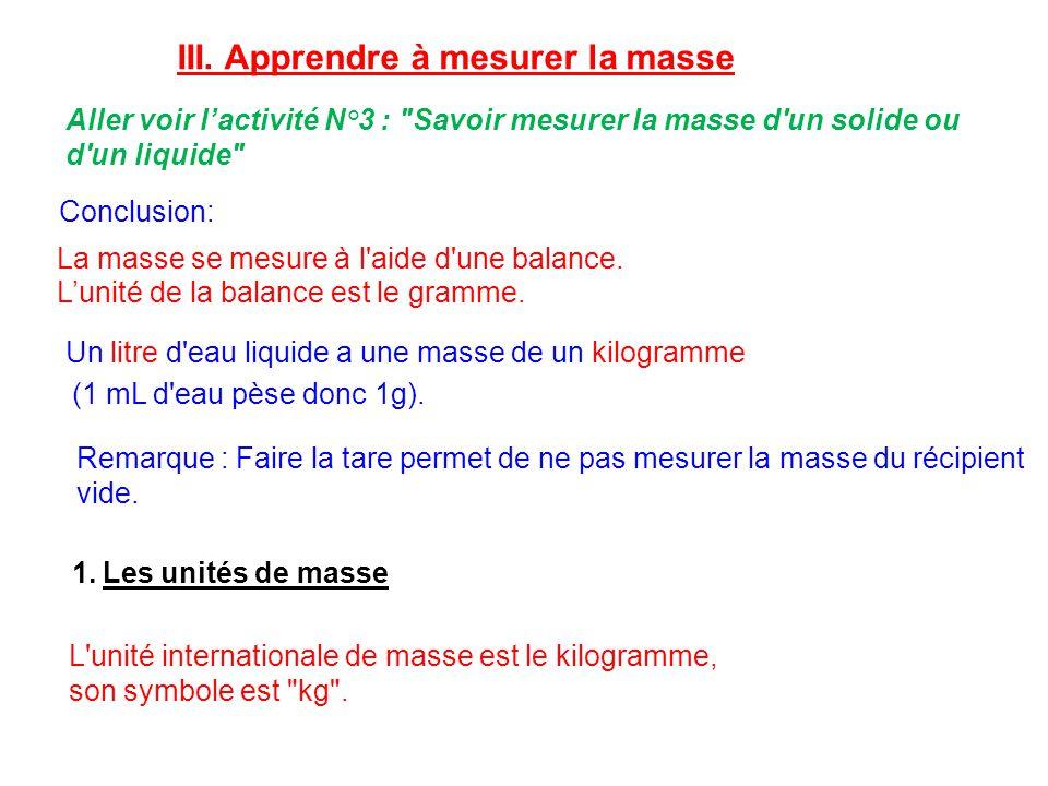 III. Apprendre à mesurer la masse Aller voir lactivité N°3 :