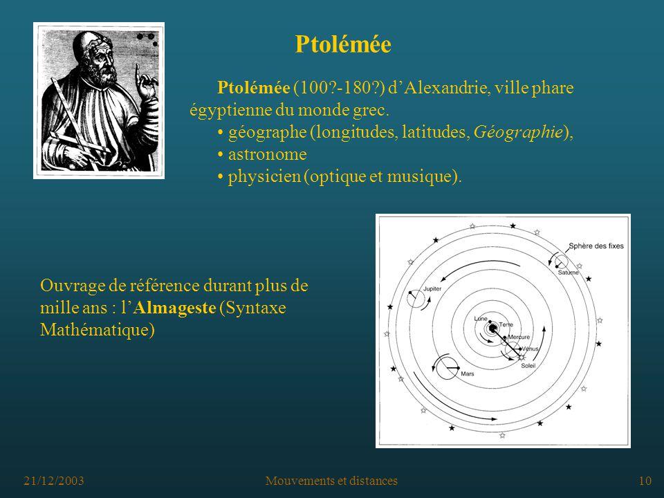 21/12/2003Mouvements et distances10 Ptolémée Ptolémée (100?-180?) dAlexandrie, ville phare égyptienne du monde grec.