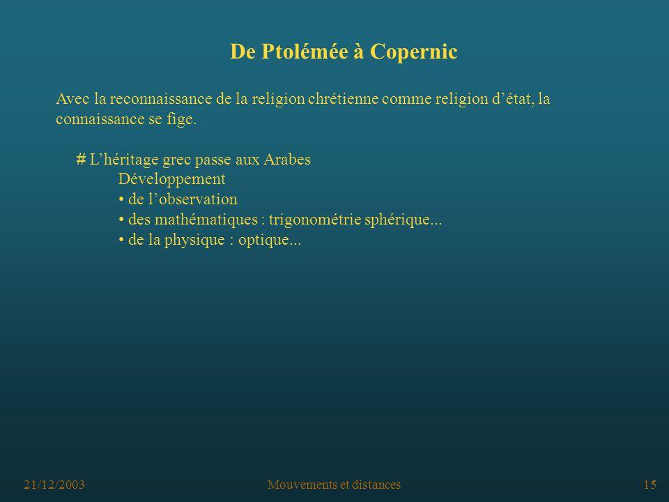 21/12/2003Mouvements et distances15 De Ptolémée à Copernic Avec la reconnaissance de la religion chrétienne comme religion détat, la connaissance se fige.