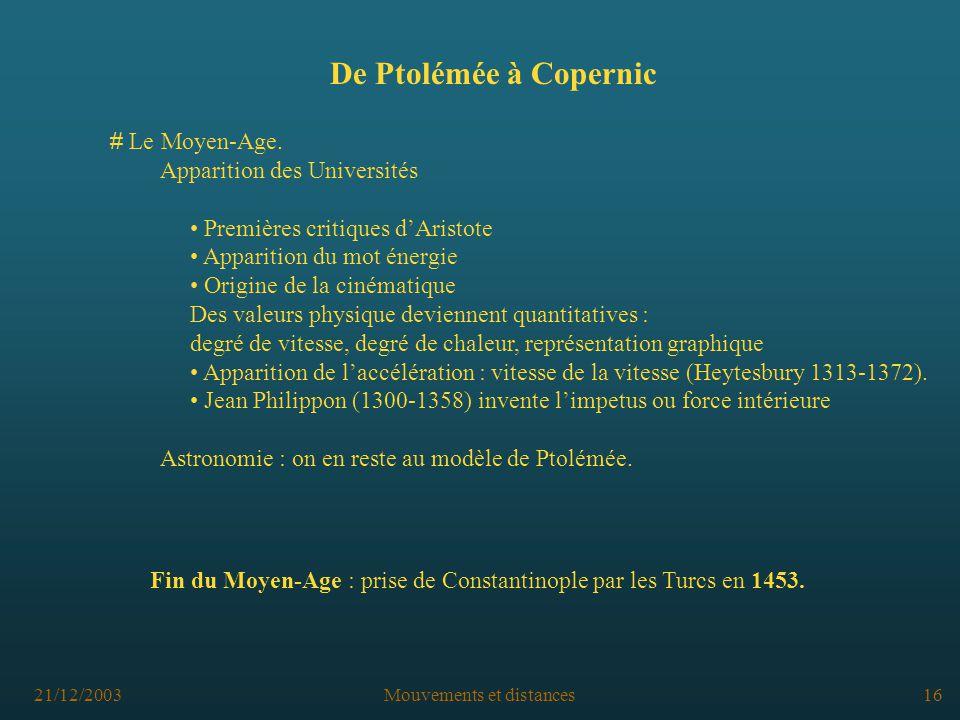 21/12/2003Mouvements et distances16 De Ptolémée à Copernic # Le Moyen-Age.