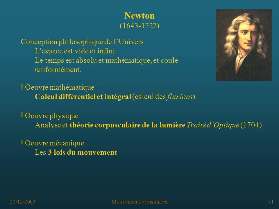 21/12/2003Mouvements et distances31 Newton (1643-1727) Conception philosophique de lUnivers Lespace est vide et infini.
