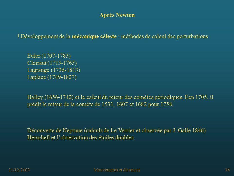 21/12/2003Mouvements et distances36 Après Newton Découverte de Neptune (calculs de Le Verrier et observée par J.