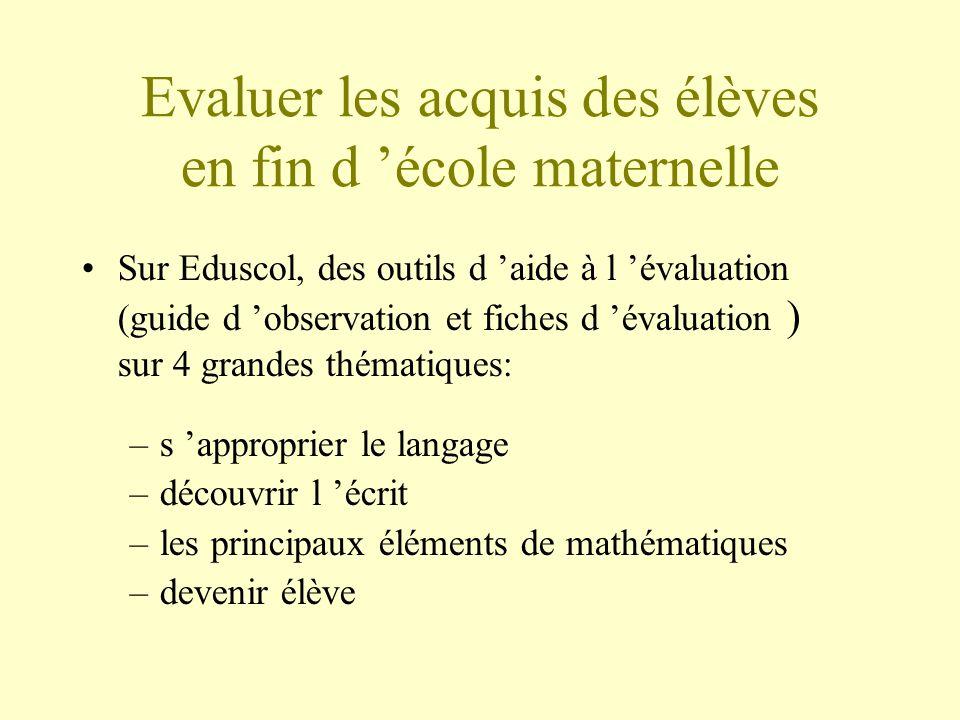 Evaluer les acquis des élèves en fin d école maternelle Sur Eduscol, des outils d aide à l évaluation (guide d observation et fiches d évaluation ) su