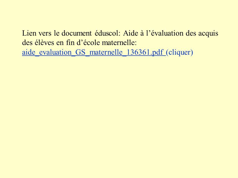 Lien vers le document éduscol: Aide à lévaluation des acquis des élèves en fin décole maternelle: aide_evaluation_GS_maternelle_136361.pdf (cliquer) a