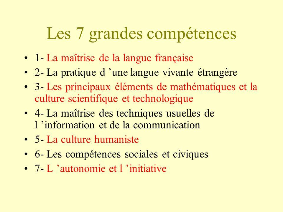 Les 7 grandes compétences 1- La maîtrise de la langue française 2- La pratique d une langue vivante étrangère 3- Les principaux éléments de mathématiq