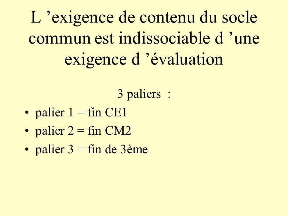 L exigence de contenu du socle commun est indissociable d une exigence d évaluation 3 paliers : palier 1 = fin CE1 palier 2 = fin CM2 palier 3 = fin d