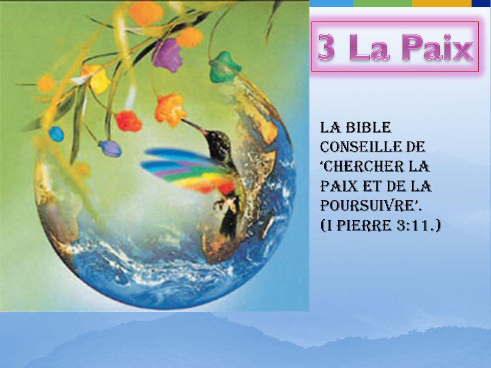 LA BIBLE conseille de chercher la paix et de la poursuivre. (I Pierre 3:11.)
