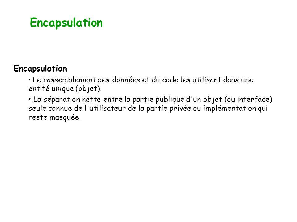 Encapsulation et abstraction L encapsulation Consiste à masquer l accès à certains attributs et méthodes d une classe.