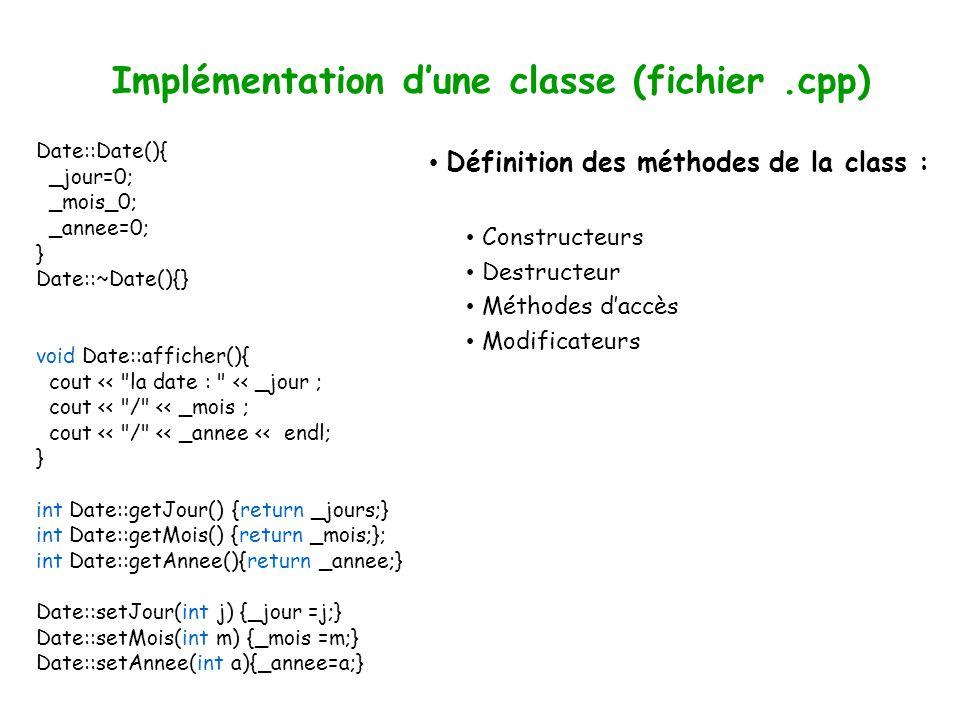 Implémentation dune classe (fichier.cpp) Définition des méthodes de la class : Constructeurs Destructeur Méthodes daccès Modificateurs Date::Date(){ _jour=0; _mois_0; _annee=0; } Date::~Date(){} void Date::afficher(){ cout << la date : << _jour ; cout << / << _mois ; cout << / << _annee << endl; } int Date::getJour() {return _jours;} int Date::getMois() {return _mois;}; int Date::getAnnee(){return _annee;} Date::setJour(int j) {_jour =j;} Date::setMois(int m) {_mois =m;} Date::setAnnee(int a){_annee=a;}