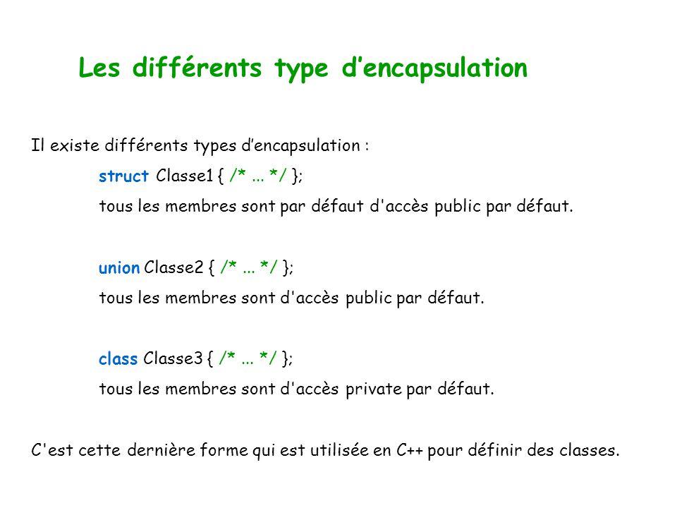 Les différents type dencapsulation Il existe différents types dencapsulation : struct Classe1 { /*...