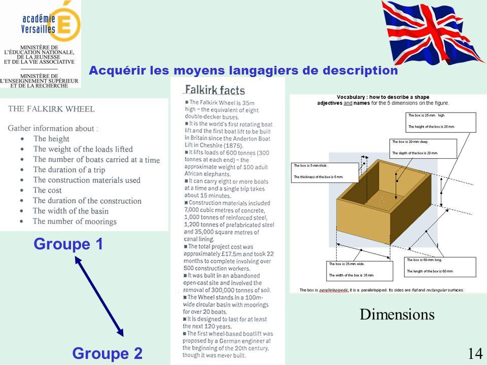 Acquérir les moyens langagiers de description Dimensions Groupe 1 Groupe 2 14