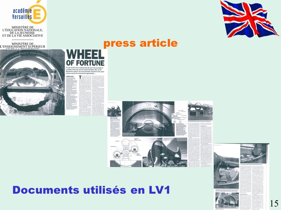 press article Documents utilisés en LV1 15