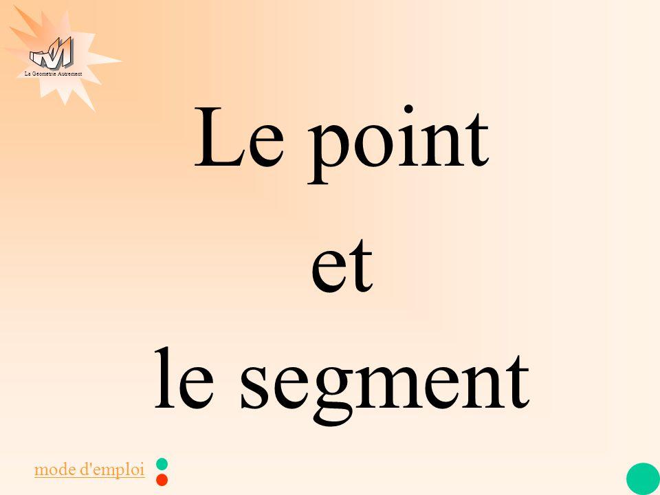La Géométrie Autrement point x A segment lettre capitale : A [ A B ] longueur2 lettres capitales AB = 2,5 cm A B dans une phrase sur un dessinnom J apprends ma leçon 2,5 cm A B