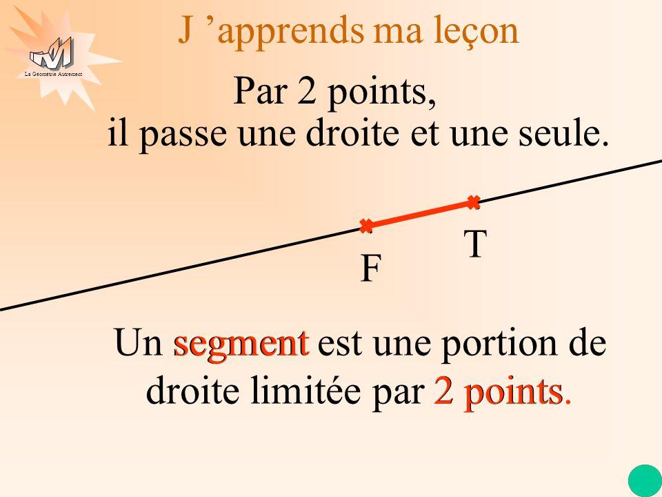 La Géométrie Autrement Un segment est une portion de droite limitée par 2 points. 2 points. J apprends ma leçon Par 2 points, T F il passe une droite