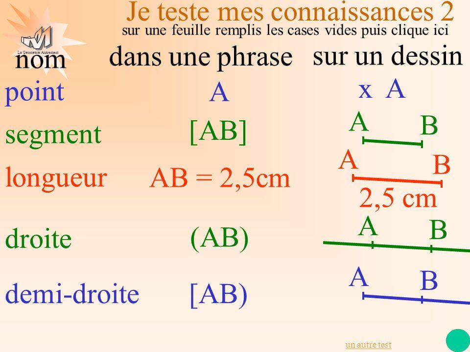 La Géométrie Autrement point x A segment A [AB] longueur AB = 2,5cm A B dans une phrase sur un dessin nom Je teste mes connaissances 2 2,5 cm A B droi