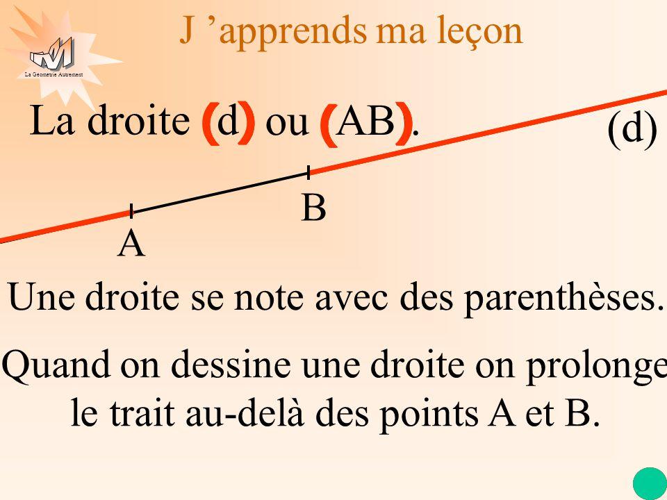 La Géométrie Autrement La droite (d) ou (AB). J apprends ma leçon Une droite se note avec des parenthèses. ) ( ( ) ) ( ( ) ) ( ( ) ) ( ( ) ) ( ( ) Qua
