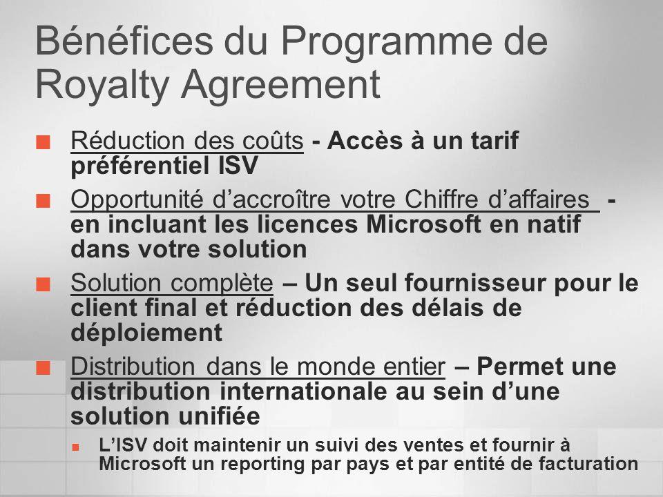 Bénéfices du Programme de Royalty Agreement Réduction des coûts - Accès à un tarif préférentiel ISV Opportunité daccroître votre Chiffre daffaires - e