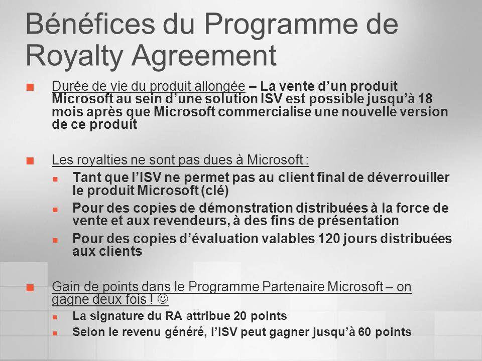 Bénéfices du Programme de Royalty Agreement Durée de vie du produit allongée – La vente dun produit Microsoft au sein dune solution ISV est possible j