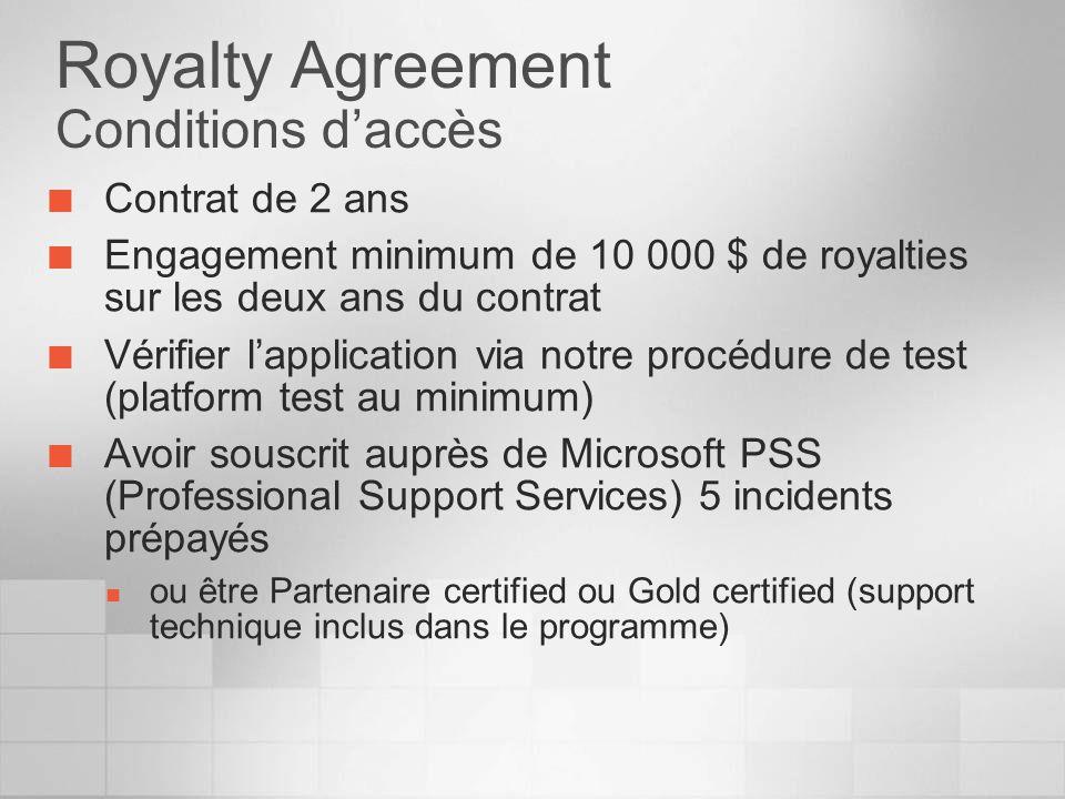 Royalty Agreement Conditions daccès Contrat de 2 ans Engagement minimum de 10 000 $ de royalties sur les deux ans du contrat Vérifier lapplication via