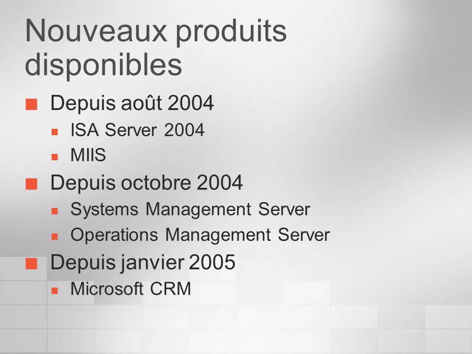 Nouveaux produits disponibles Depuis août 2004 ISA Server 2004 MIIS Depuis octobre 2004 Systems Management Server Operations Management Server Depuis janvier 2005 Microsoft CRM