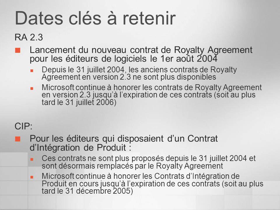 Dates clés à retenir RA 2.3 Lancement du nouveau contrat de Royalty Agreement pour les éditeurs de logiciels le 1er août 2004 Depuis le 31 juillet 2004, les anciens contrats de Royalty Agreement en version 2.3 ne sont plus disponibles Microsoft continue à honorer les contrats de Royalty Agreement en version 2.3 jusquà lexpiration de ces contrats (soit au plus tard le 31 juillet 2006) CIP: Pour les éditeurs qui disposaient dun Contrat dIntégration de Produit : Ces contrats ne sont plus proposés depuis le 31 juillet 2004 et sont désormais remplacés par le Royalty Agreement Microsoft continue à honorer les Contrats dIntégration de Produit en cours jusquà lexpiration de ces contrats (soit au plus tard le 31 décembre 2005)