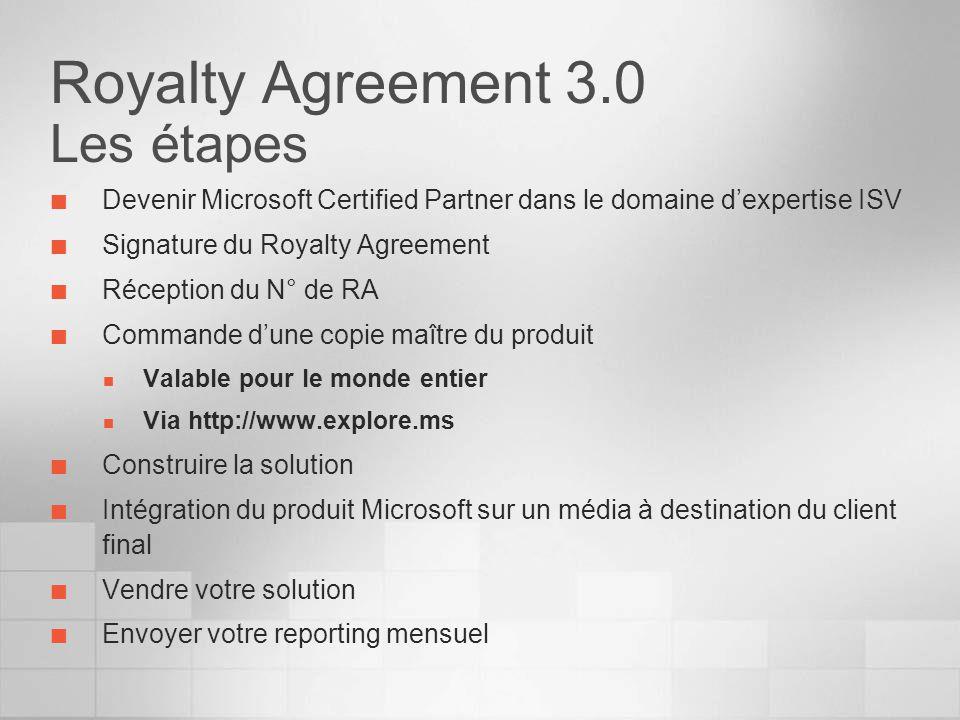 Royalty Agreement 3.0 Les étapes Devenir Microsoft Certified Partner dans le domaine dexpertise ISV Signature du Royalty Agreement Réception du N° de