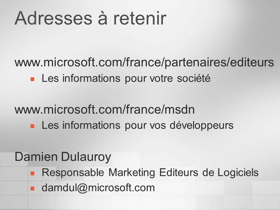 Adresses à retenir www.microsoft.com/france/partenaires/editeurs Les informations pour votre société www.microsoft.com/france/msdn Les informations pour vos développeurs Damien Dulauroy Responsable Marketing Editeurs de Logiciels damdul@microsoft.com