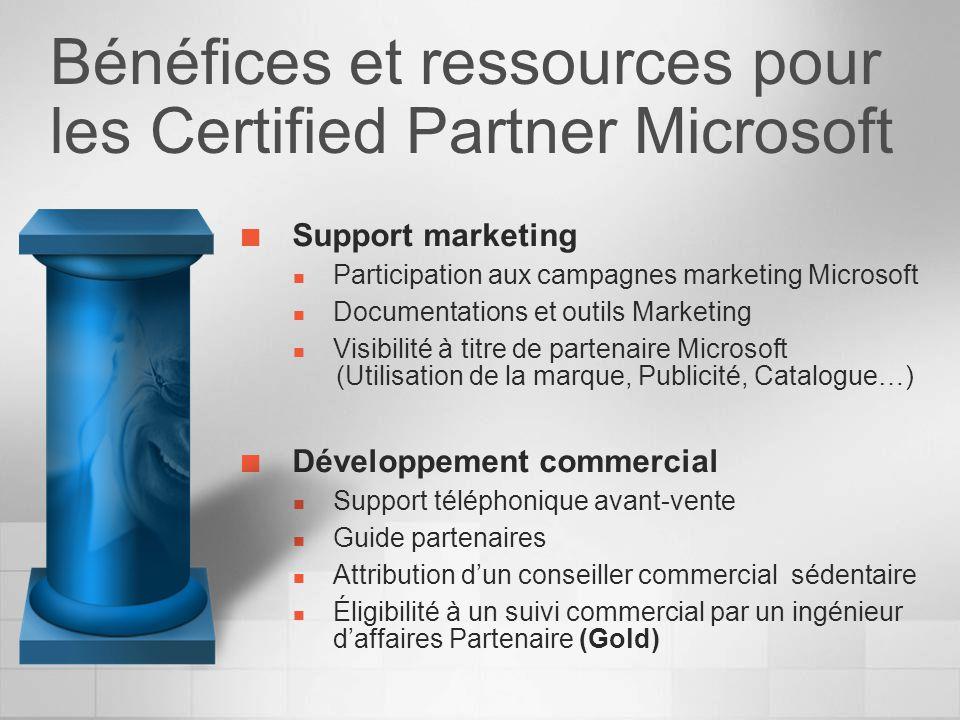 Bénéfices et ressources pour les Certified Partner Microsoft Support marketing Participation aux campagnes marketing Microsoft Documentations et outil