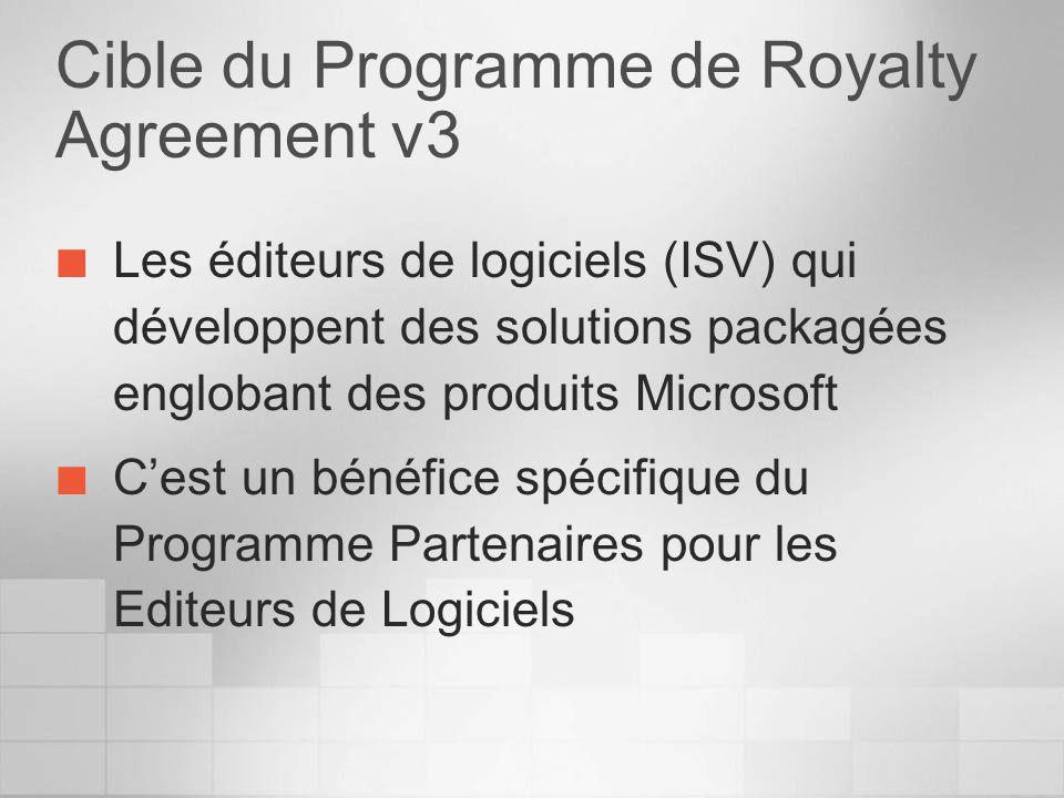 Cible du Programme de Royalty Agreement v3 Les éditeurs de logiciels (ISV) qui développent des solutions packagées englobant des produits Microsoft Cest un bénéfice spécifique du Programme Partenaires pour les Editeurs de Logiciels