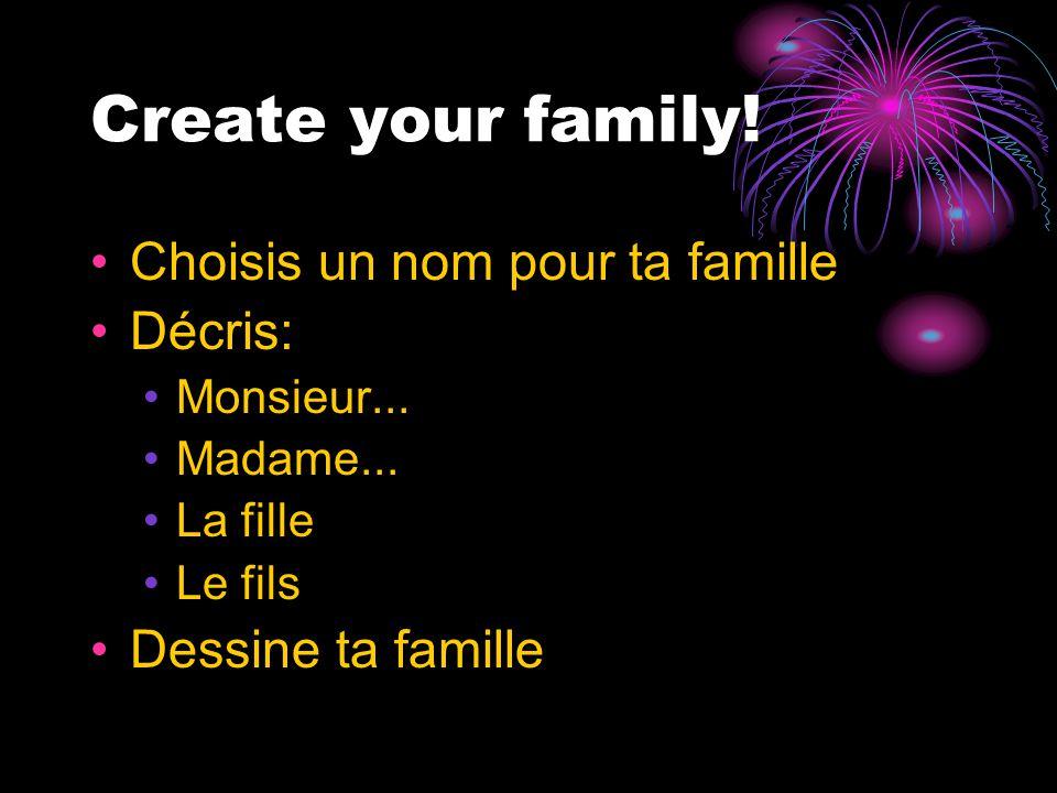 Create your family. Choisis un nom pour ta famille Décris: Monsieur...