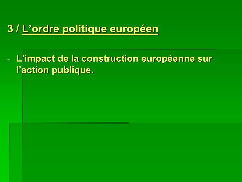 3 / Lordre politique européen -Limpact de la construction européenne sur laction publique.