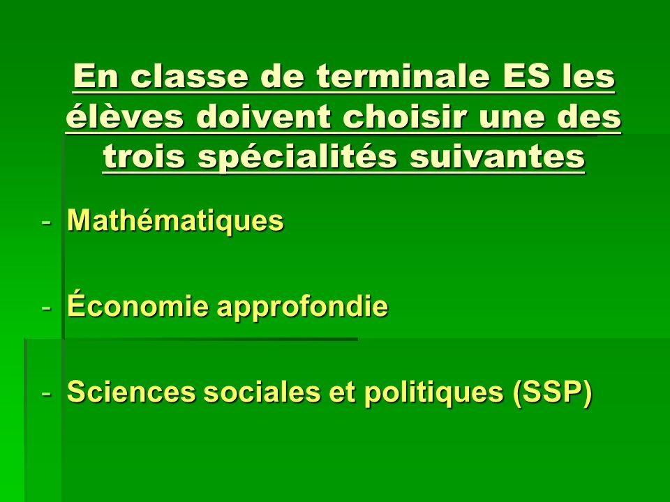 En classe de terminale ES les élèves doivent choisir une des trois spécialités suivantes -Mathématiques -Économie approfondie -Sciences sociales et po