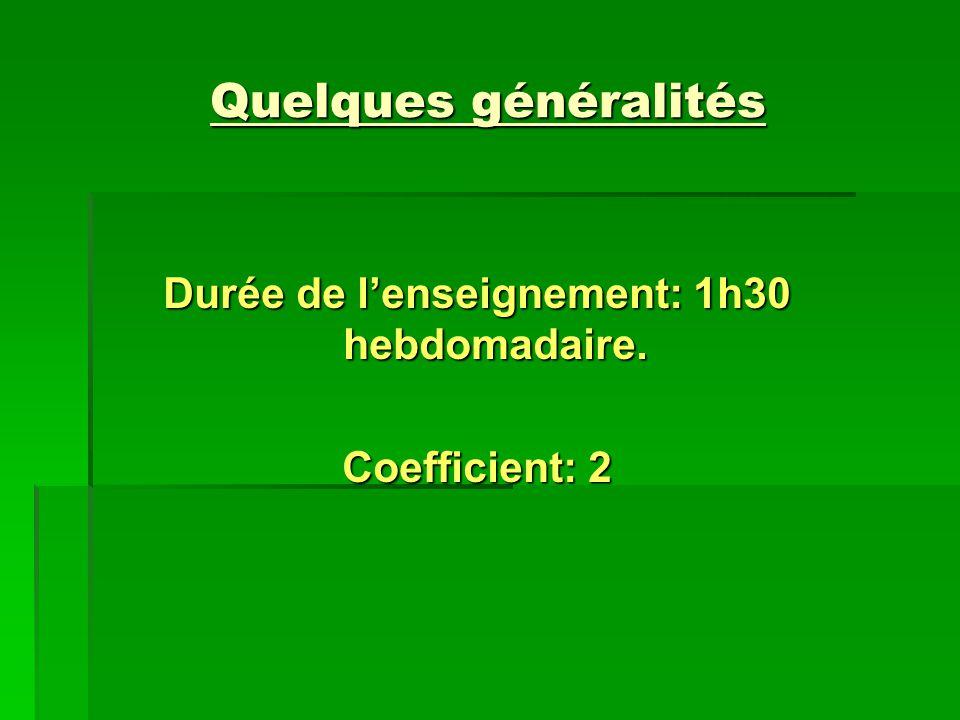 Quelques généralités Durée de lenseignement: 1h30 hebdomadaire. Coefficient: 2