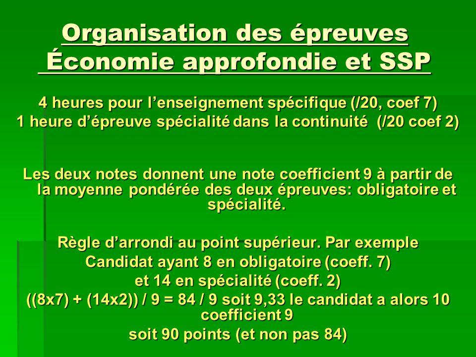 Organisation des épreuves Économie approfondie et SSP 4 heures pour lenseignement spécifique (/20, coef 7) 1 heure dépreuve spécialité dans la continu
