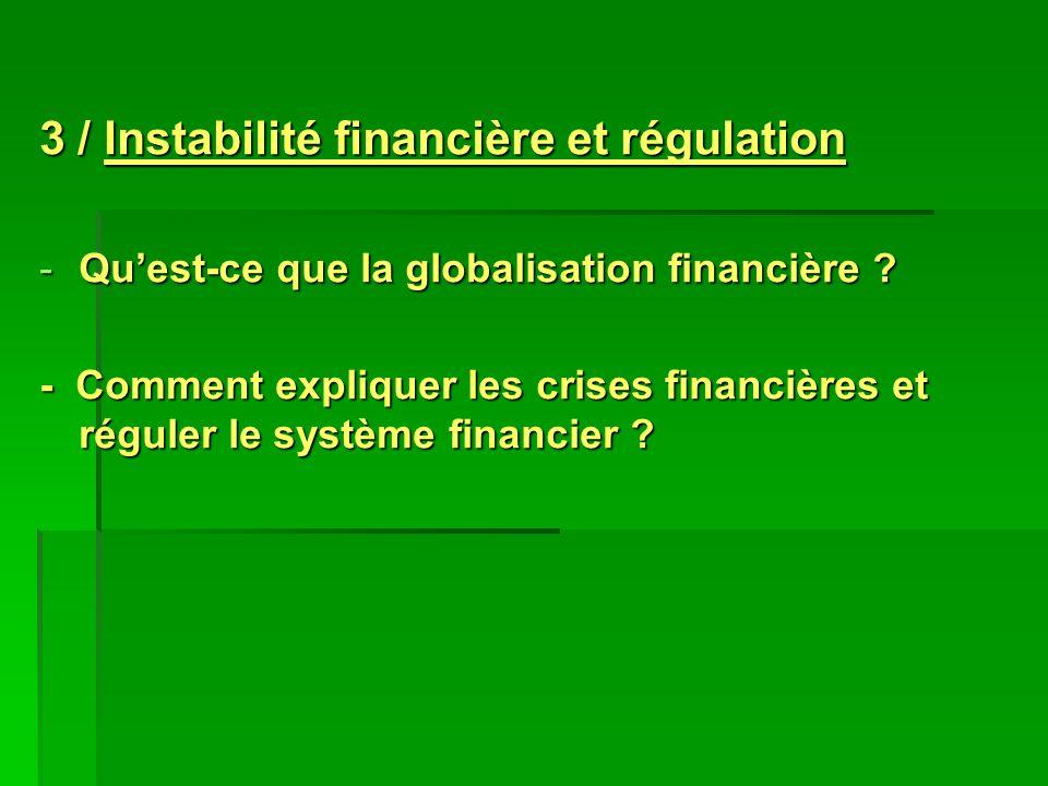 3 / Instabilité financière et régulation -Quest-ce que la globalisation financière ? - Comment expliquer les crises financières et réguler le système