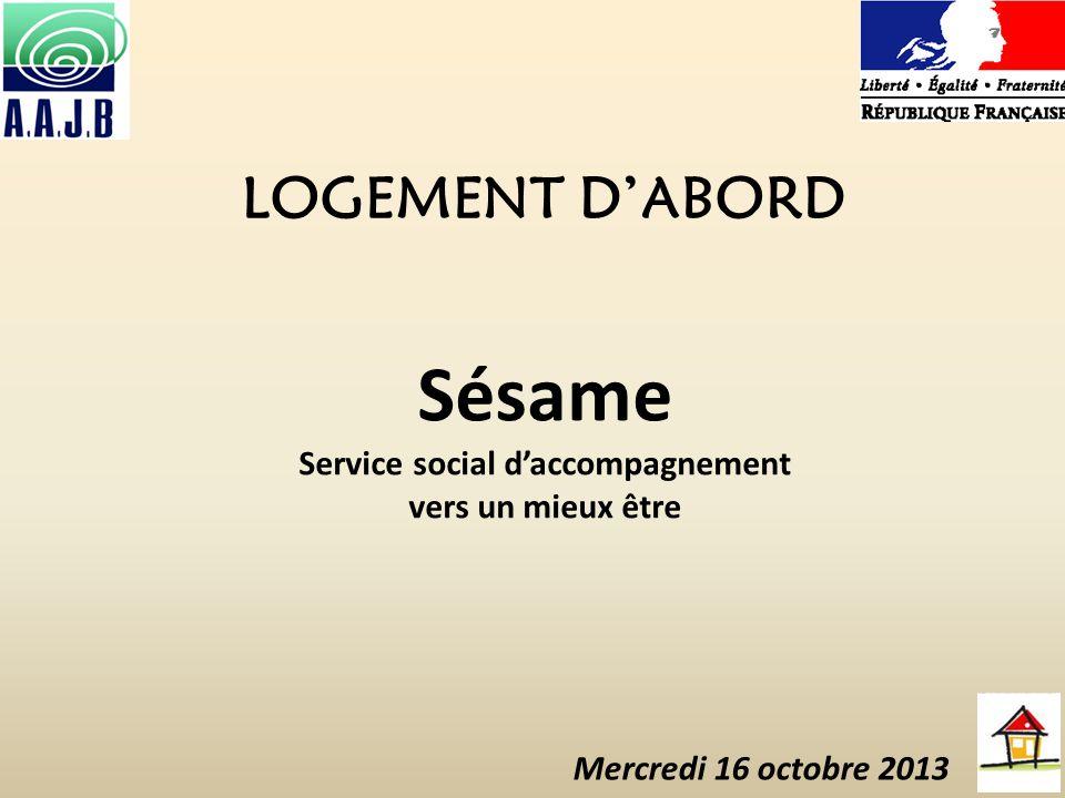 LOGEMENT DABORD Sésame Service social daccompagnement vers un mieux être Mercredi 16 octobre 2013