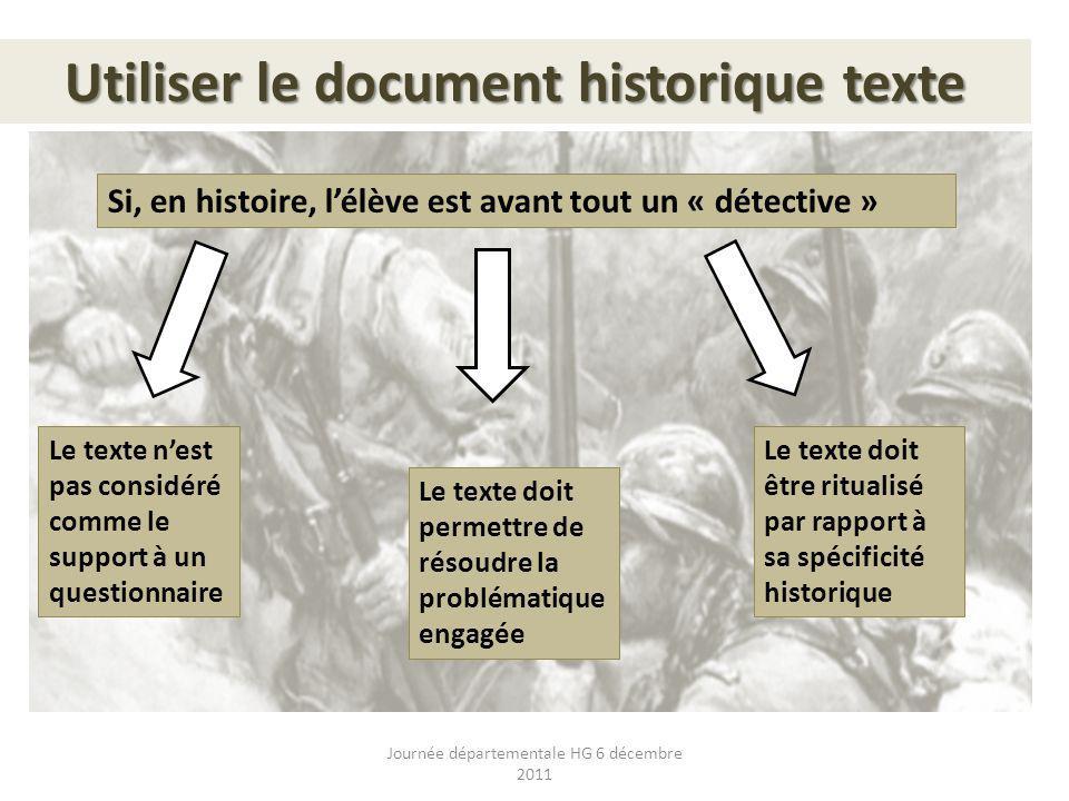 Utiliser le document historique texte Si, en histoire, lélève est avant tout un « détective » Le texte nest pas considéré comme le support à un questi