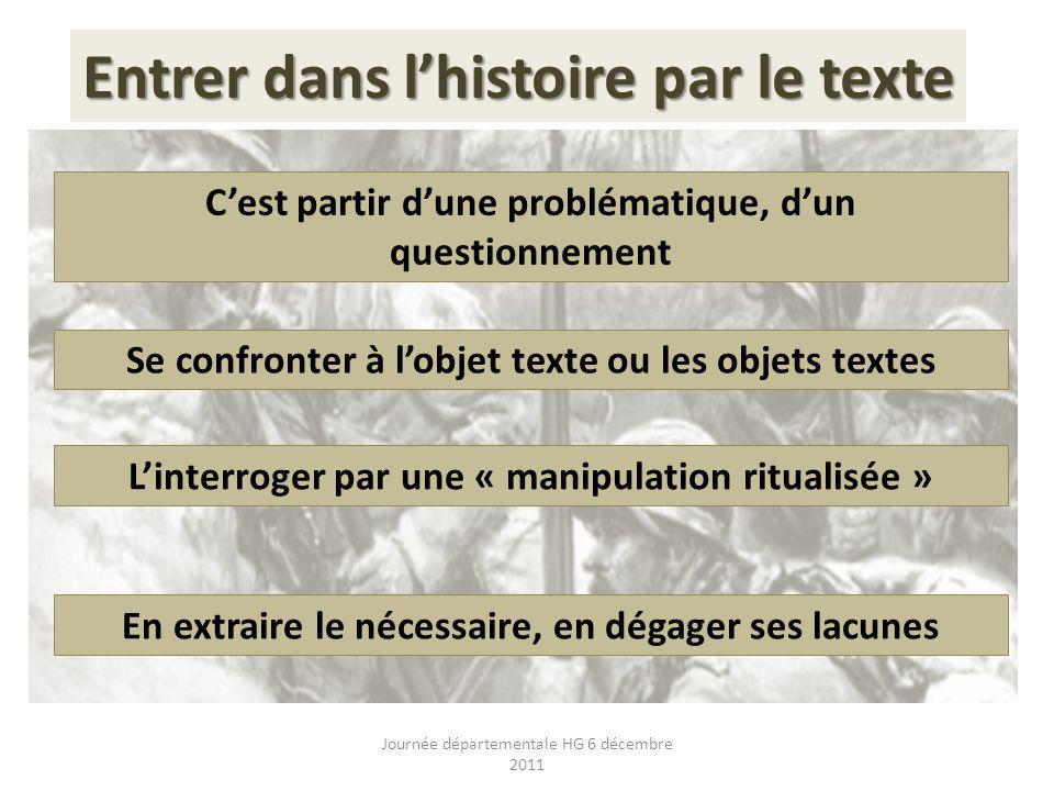Entrer dans lhistoire par le texte Cest partir dune problématique, dun questionnement Se confronter à lobjet texte ou les objets textes Linterroger pa