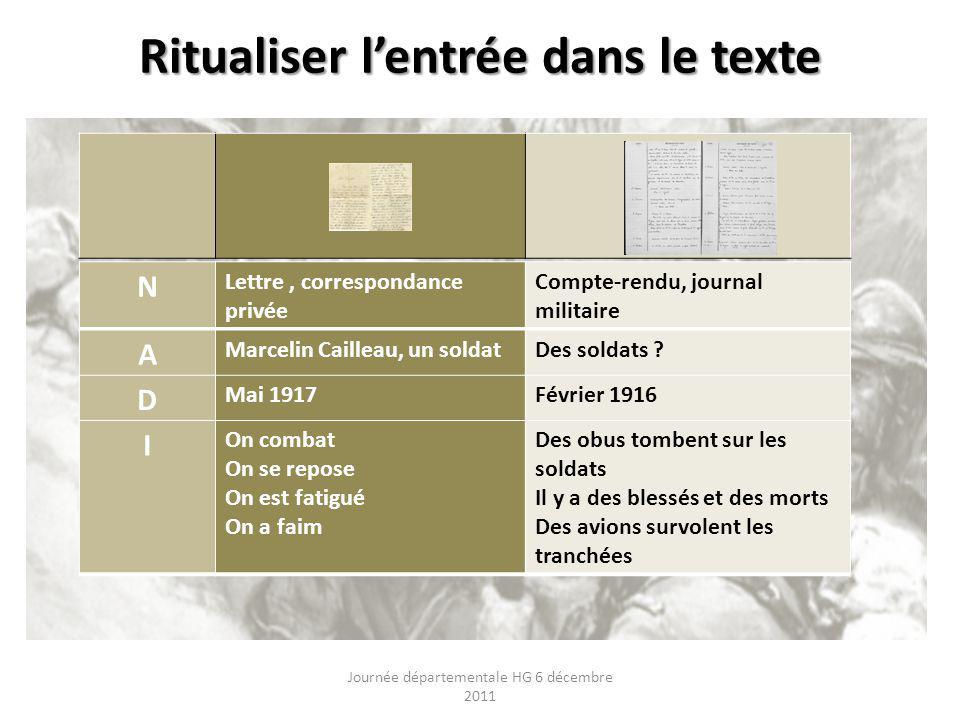 Ritualiser lentrée dans le texte Journée départementale HG 6 décembre 2011 N Lettre, correspondance privée Compte-rendu, journal militaire A Marcelin