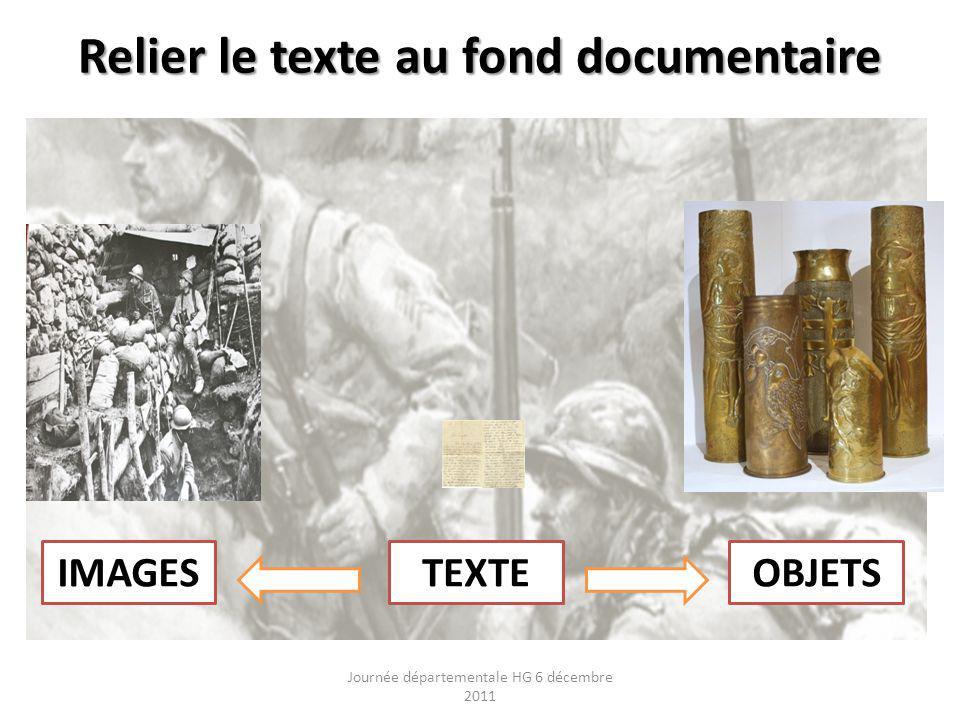 Relier le texte au fond documentaire Journée départementale HG 6 décembre 2011 TEXTEIMAGESOBJETS